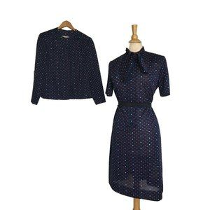 Vintage 60s HEART Pattern Ascot Dress & Jacket L